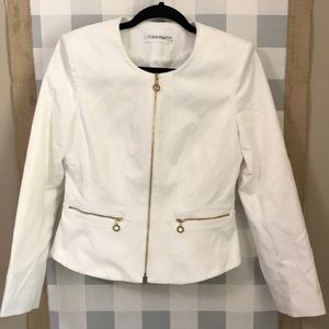 Calvin Klein white jacket with gold zippers